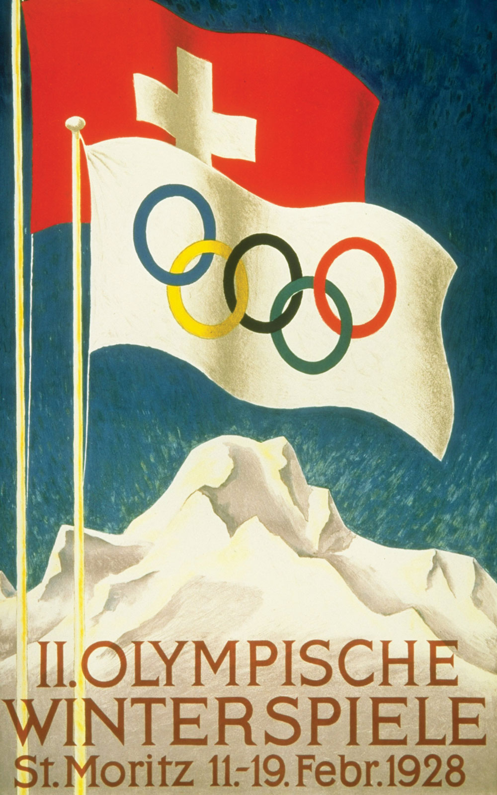Advertising poster of the Winter Olympic Games in St. Moritz (Switzerland), 1928