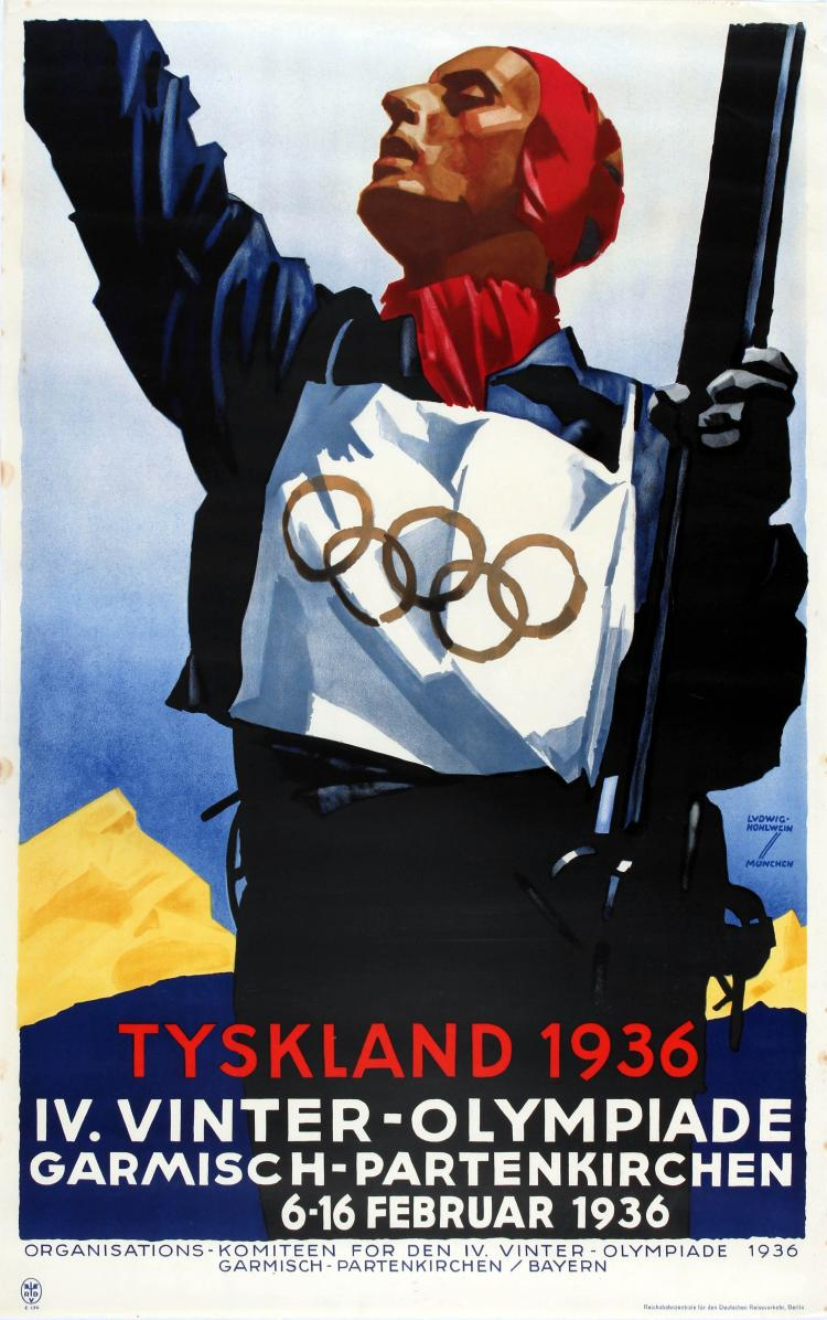 Advertising poster of the Winter Olympic Games in  Garmisch-Partenkirchen  (Germany), 1936