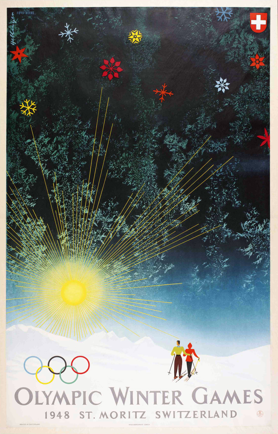 Advertising poster of the Winter Olympic Games in  S aint Moritz (Switzerland), 1948