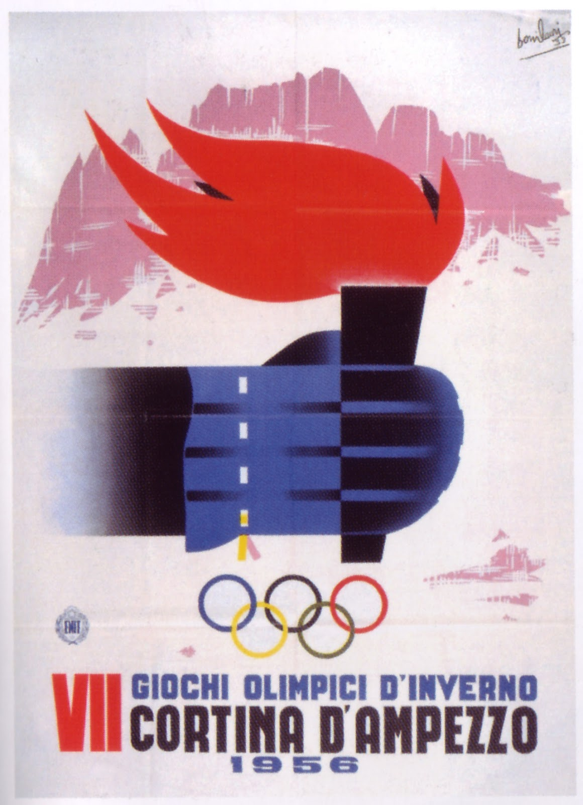 Advertising poster of the Winter Olympic Games in Cortina d'Ampezzo (Italy), 1956