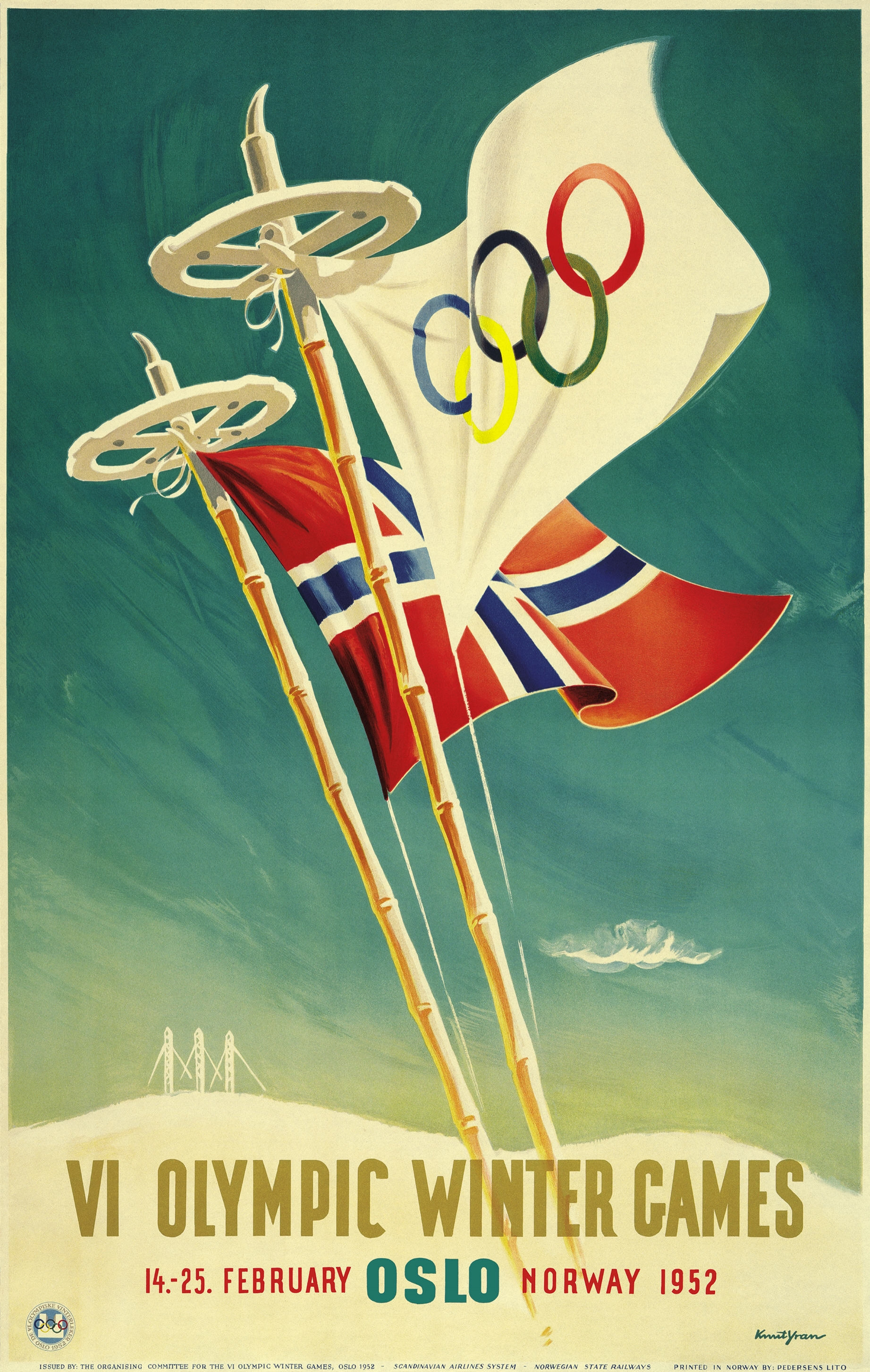 Advertising poster of the Winter Olympic Games in Oslo (Norway), 1952