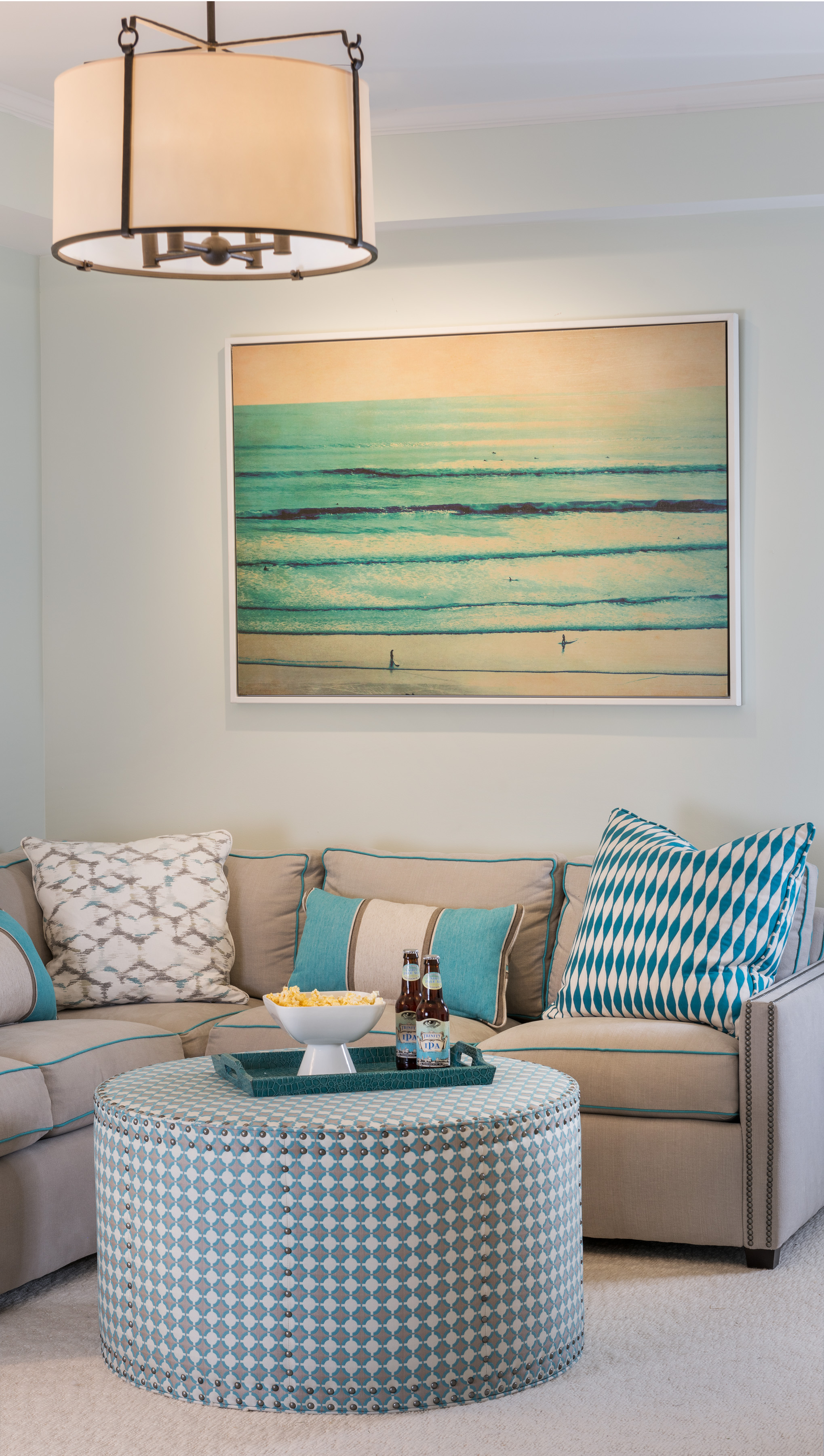 Easton's Beach, Newport, Rhode Island, interior design, beach design, beach print, turquoise blue, aqua blue, living space