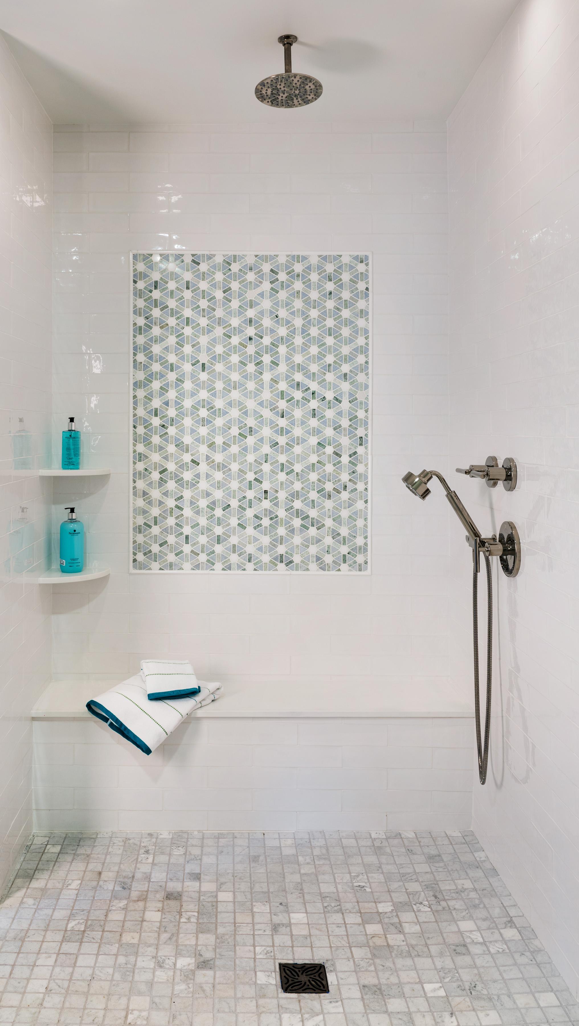 Newport, Rhode Island, bathroom, bathroom design, tile work, tile design, beach style