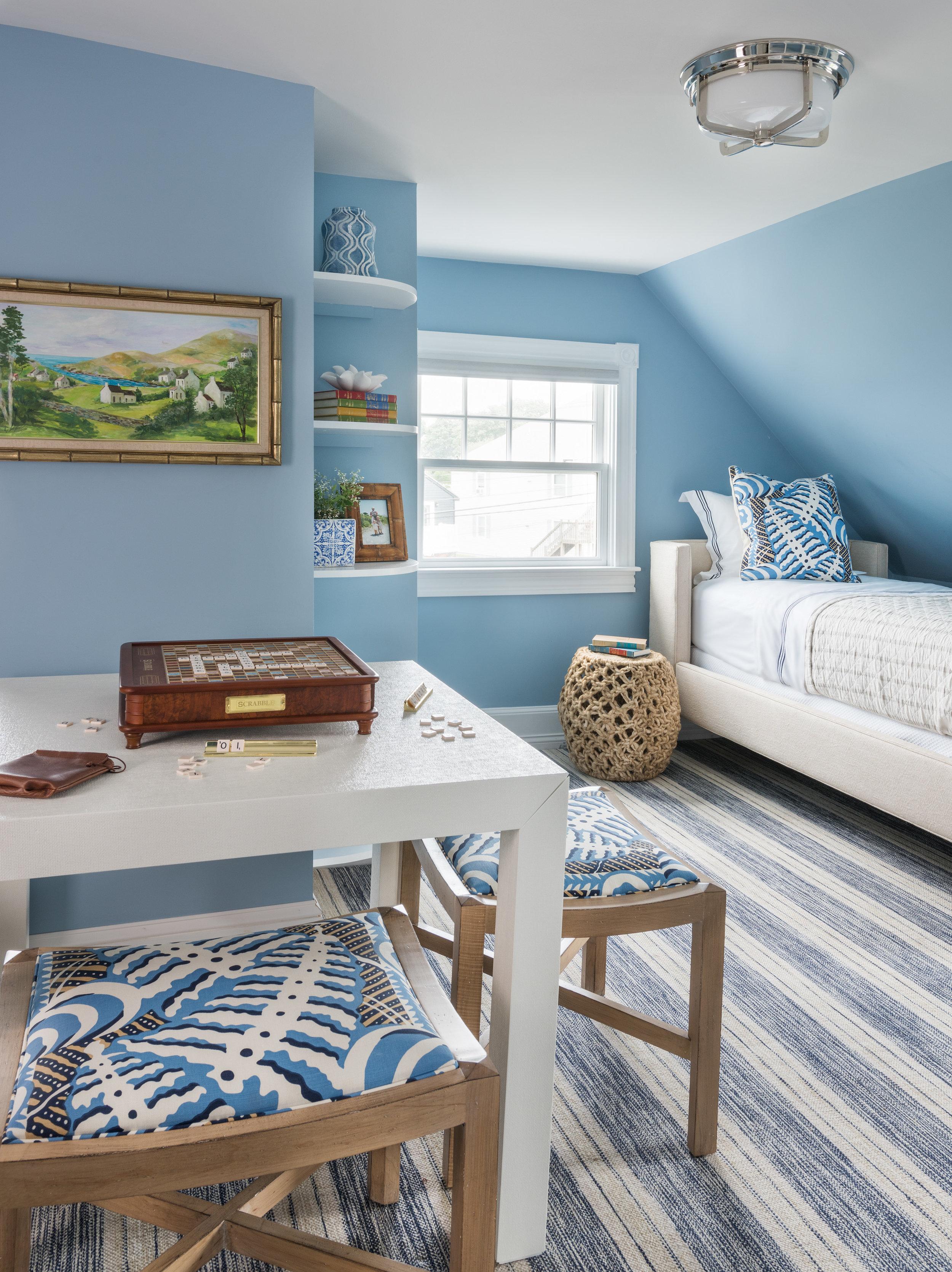 Rhode Island, Newport, Easton's Beach, bedroom, blue bedroom, blue rug, blue walls, beach decor, beach style, interior design