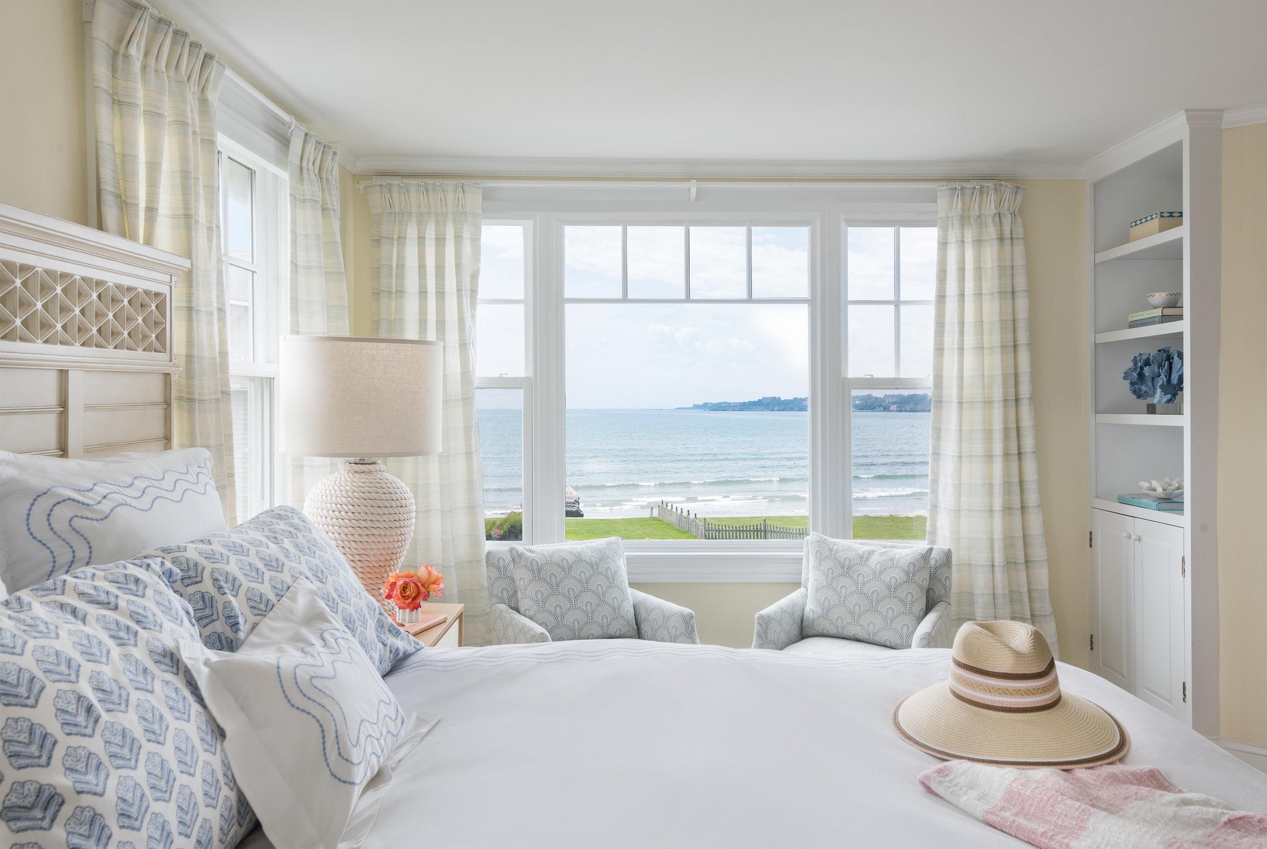 interior design, Rhode Island, Newport, ocean view, bedroom, beach style, beach design
