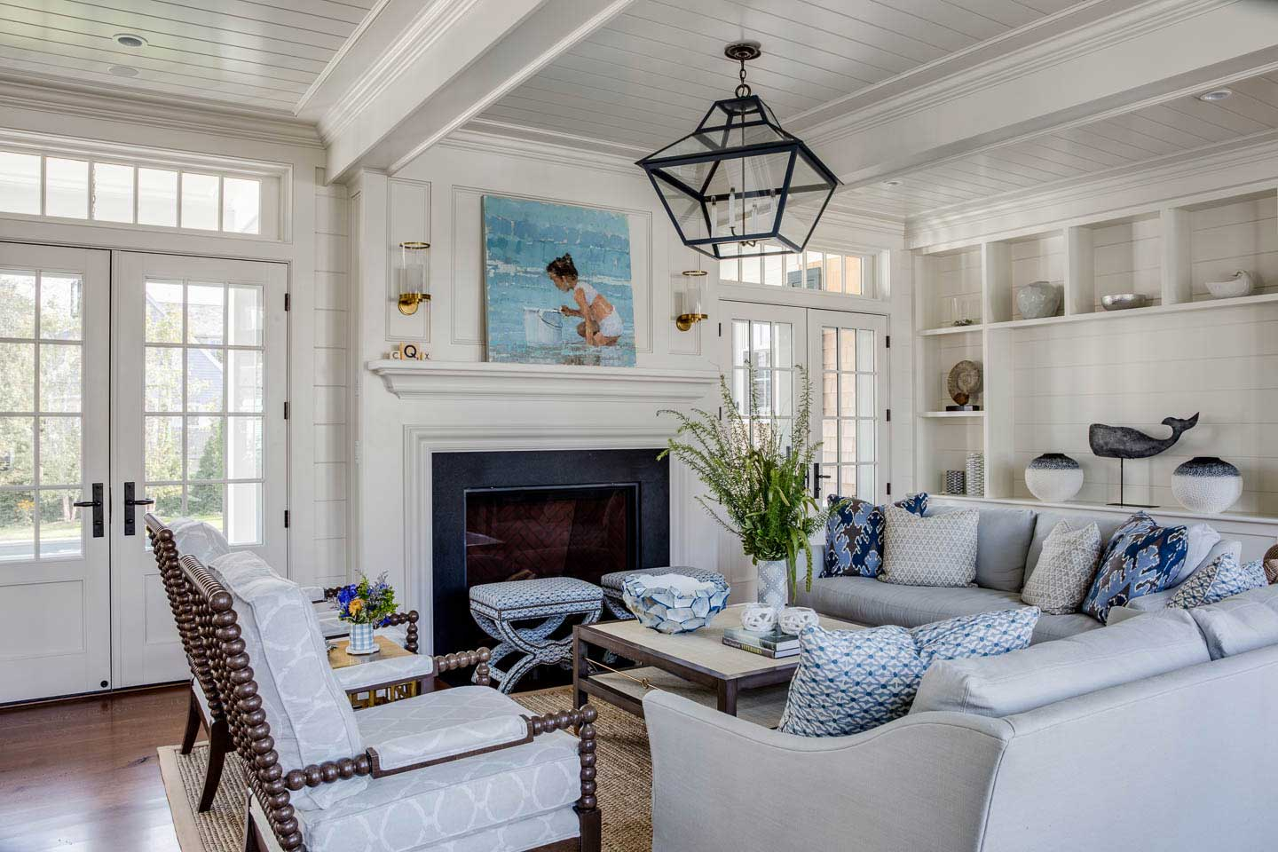 family room, pendant lighting, french doors, fireplace, interior design, living room, seating