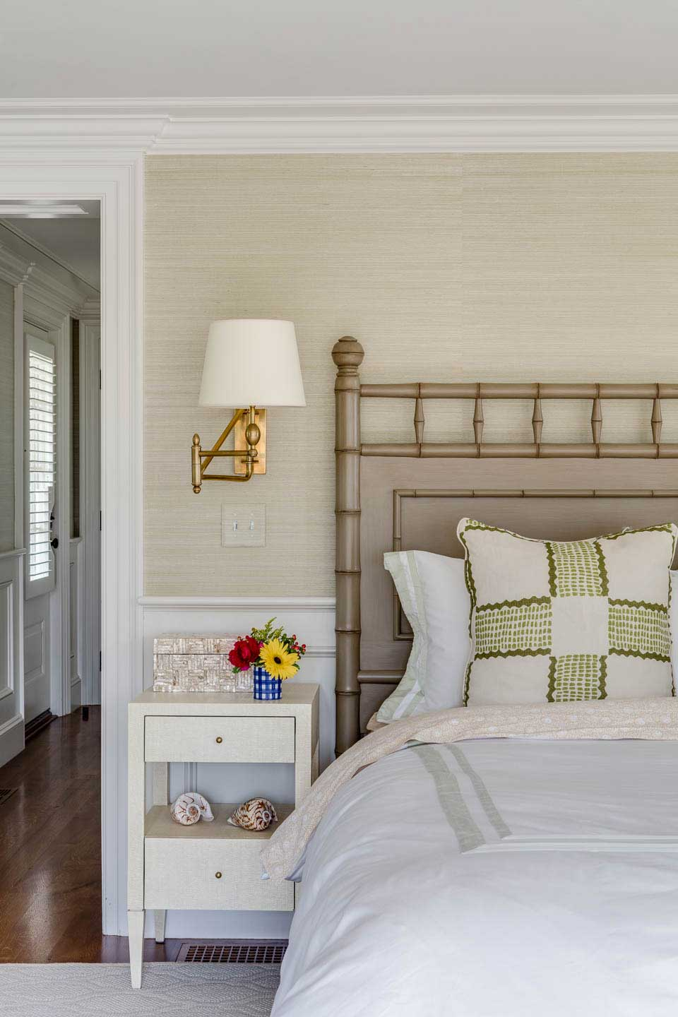 cape house, bedroom, guest room, night stand, bed, white bedding, bamboo headboard