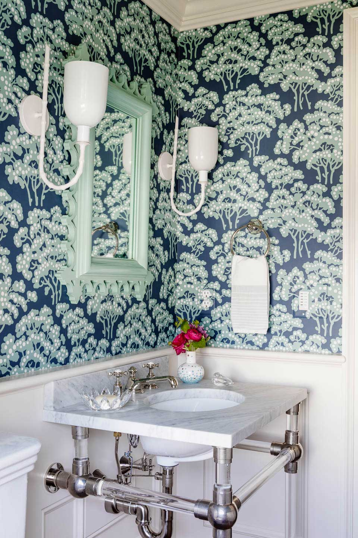 powder room, bathroom, wallpaper in bathroom, lighting, interior design, bathroom design, digs, digs design