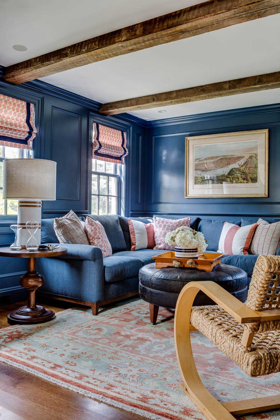 cape house, study, blue walls, blue couch, sectional sofa, roman shades, interior design, digs design, digs