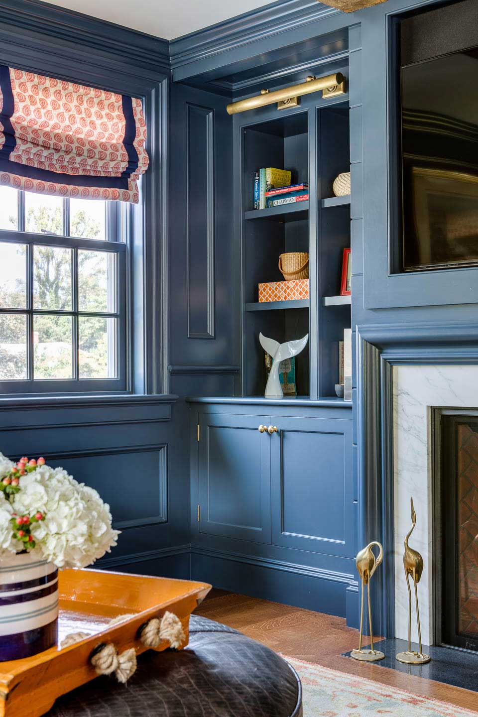 blue paneling, library, roman shade, cape house