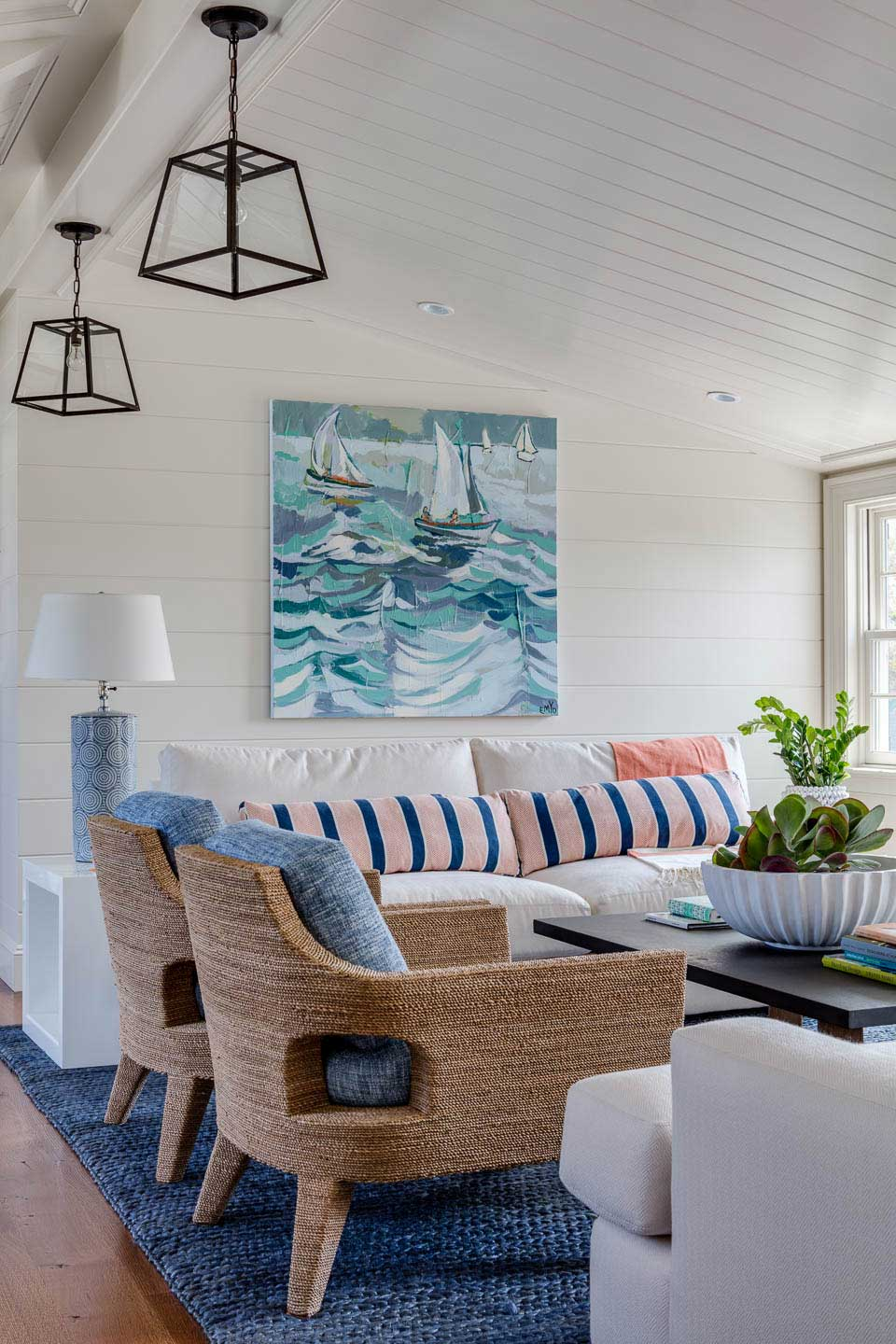 cape house, family room, cape cod style, boat painting, family room design, seating, blue rug, white couch, interior design, digs, digs design