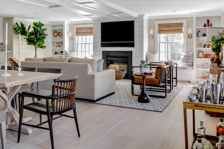 Newport House, Newport Rhode Island, Interior Design, Living Room, TV over fireplace, Living room design