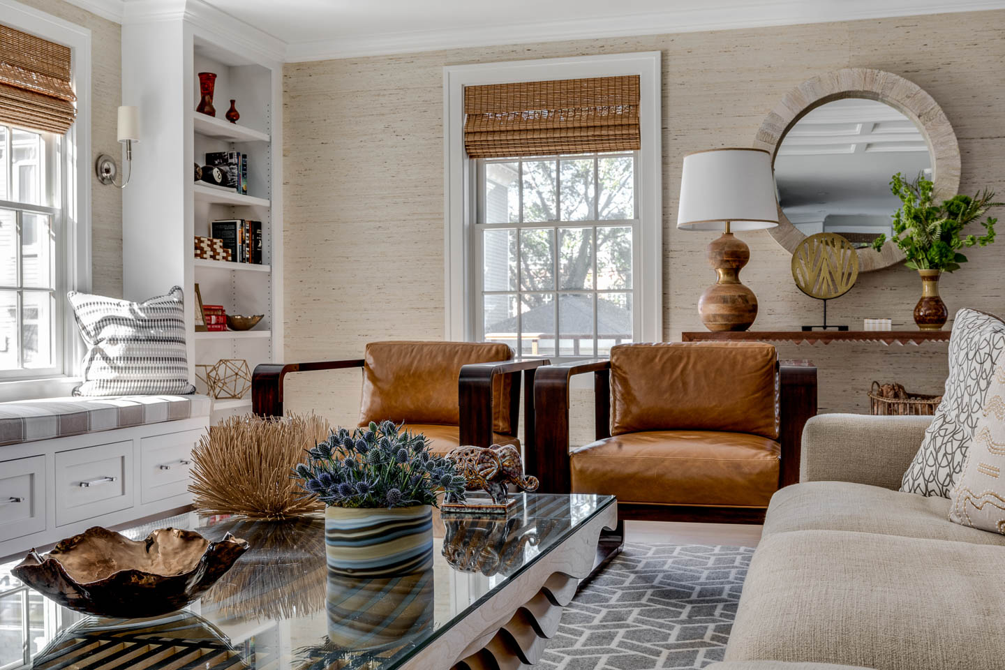 Living Room, Newport, Rhode Island, Interior Design, Window bench, coffee table, leather chairs