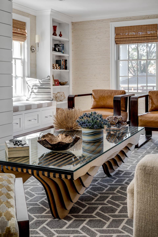 Living room, coffee table, rug, Newport, Rhode Island