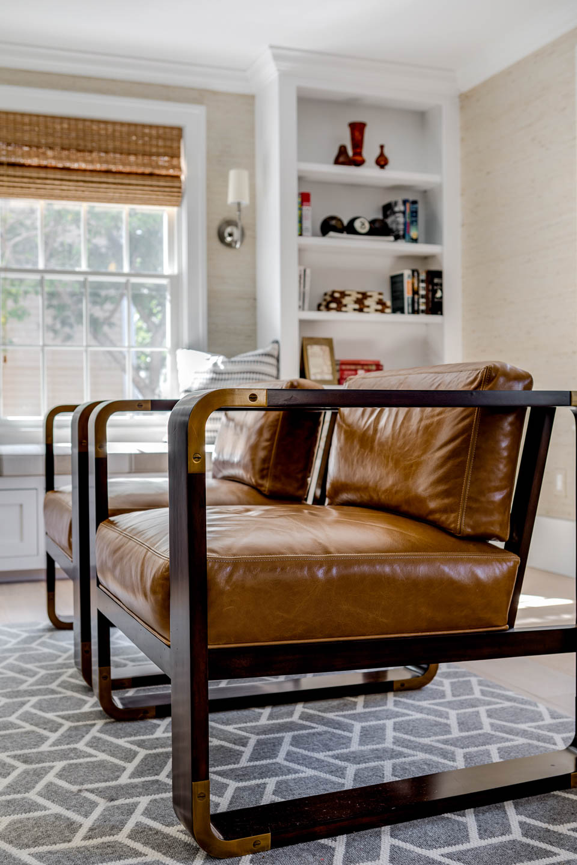 Newport, Rhode Island, Interior Design, leather chairs, living room design