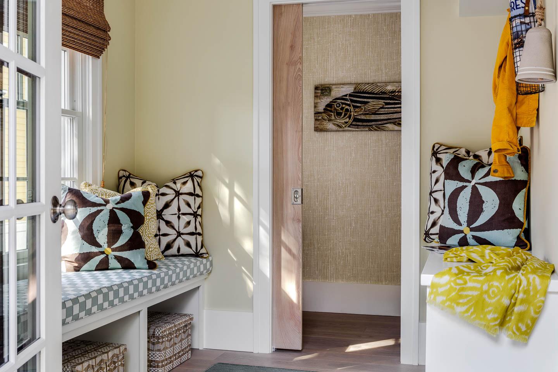 Newport, Rhode Island, interior design, entryway, bench seat, fish print, pocket door
