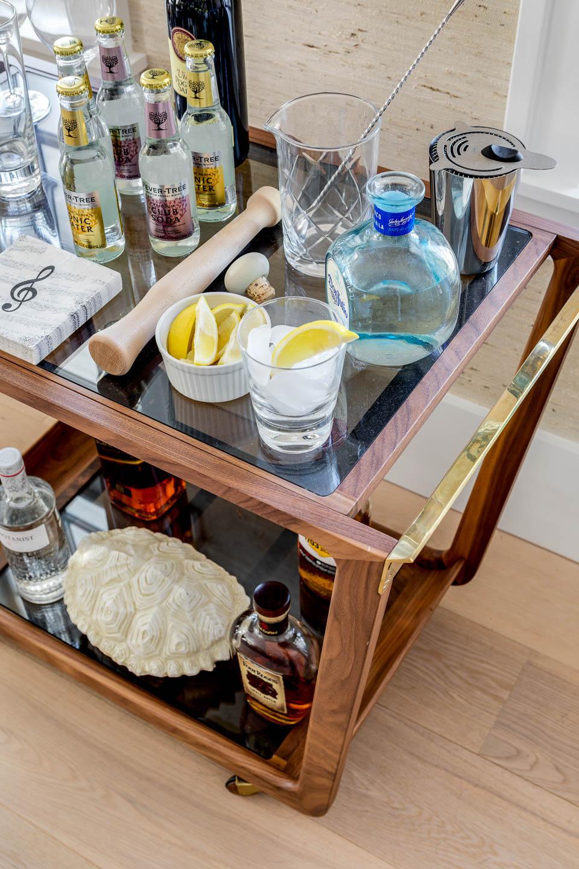 Newport, Rhode Island interior designer, bar cart,