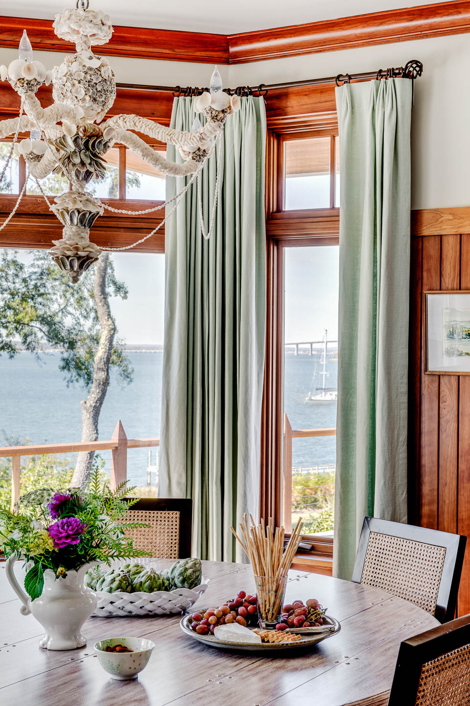 dining table, table decor, table in front of window, interior design, Rhode Island, New England