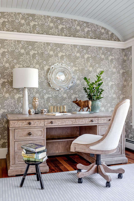 office, desk, wallpaper, interior design, New England, Rhode Island, office design