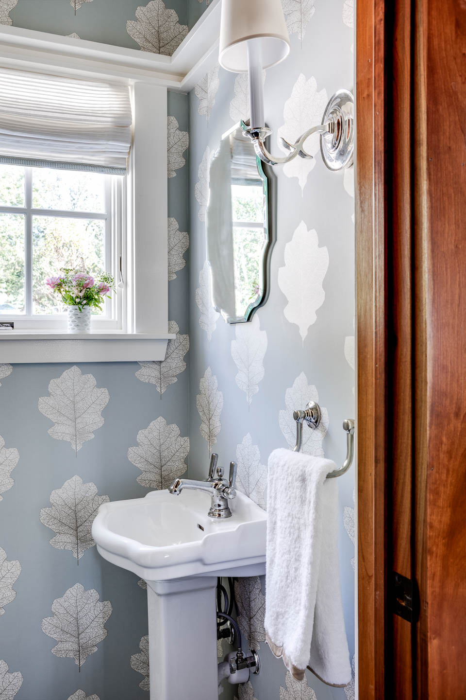 powder room, bathroom wallpaper, interior design, Rhode Island interior designer