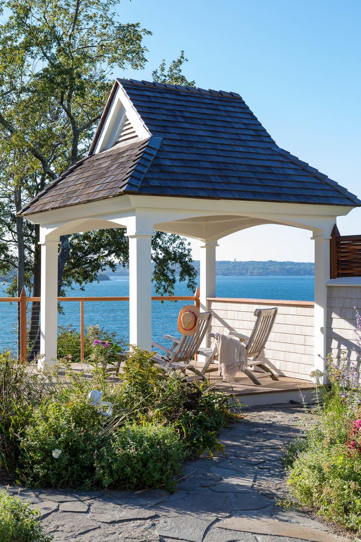 gazebo, waterview, exterior design, Rhode Island, New England design