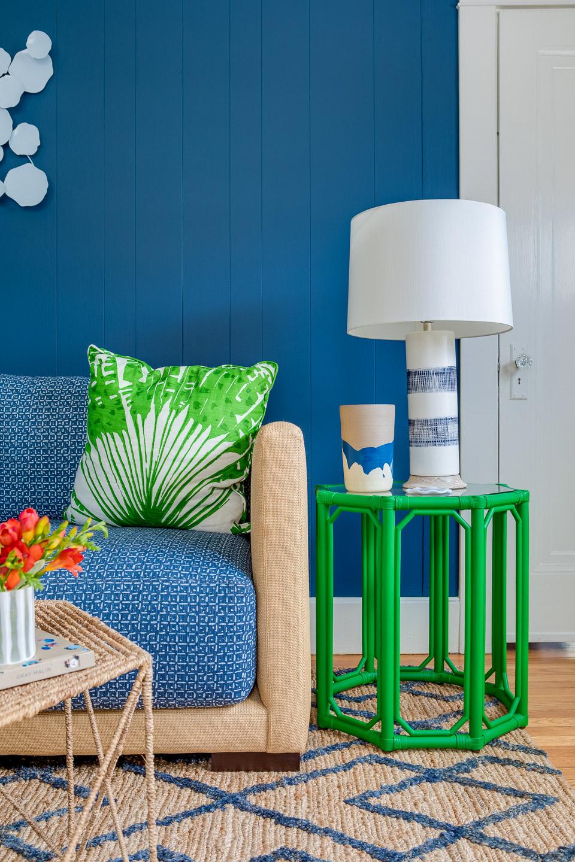 Nigro Kay Getaway, beach house decor, east coast, coastal decor, digs design, love your digs,blue couch, living room, family room, blue walls