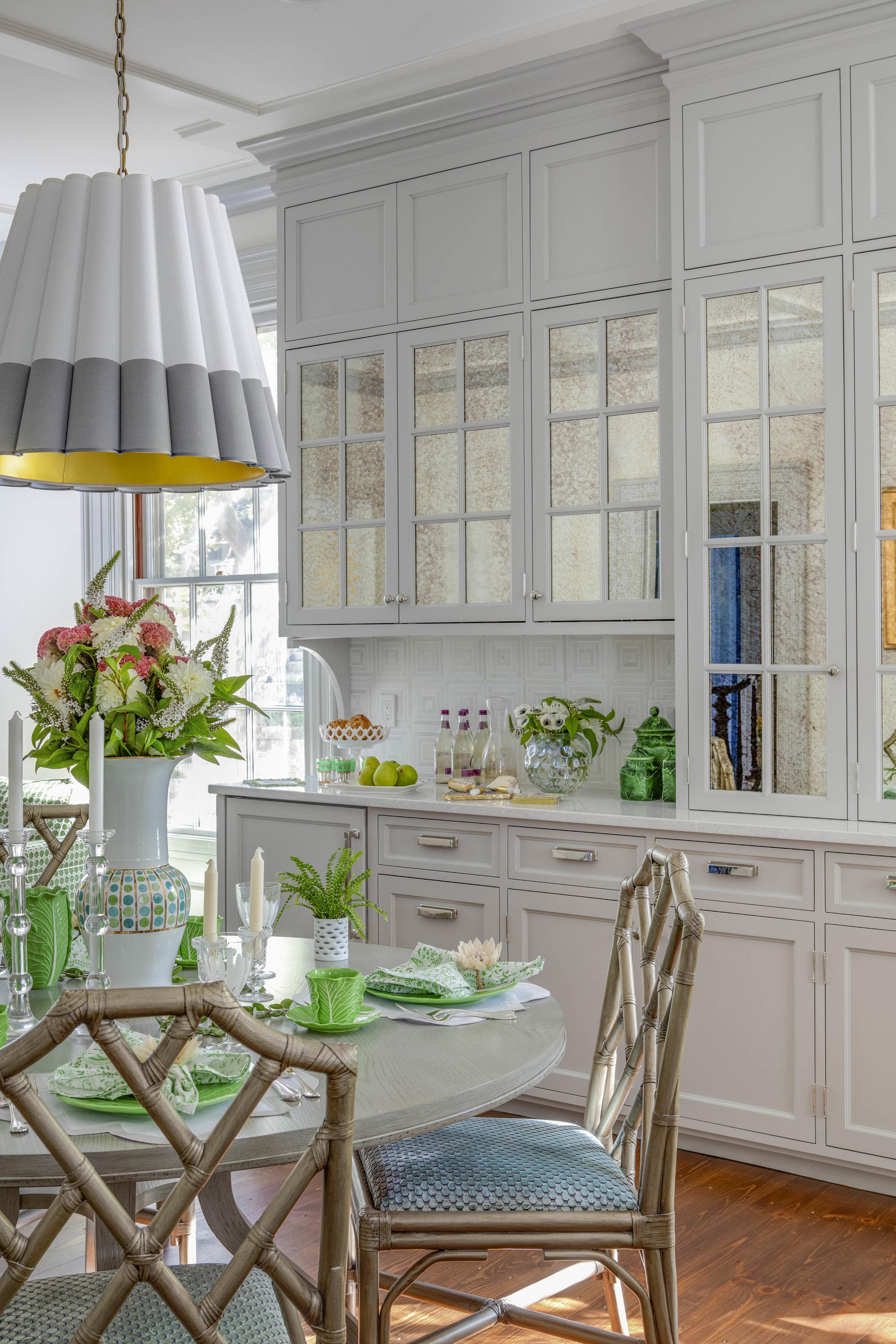Benefit Street, Providence, Rhode Island, gray cabinets, kitchen design, bar, kitchen cabinets, mirror front cabinets, interior design, jocelyn chiappone, digs design, digs interior design, digs design company