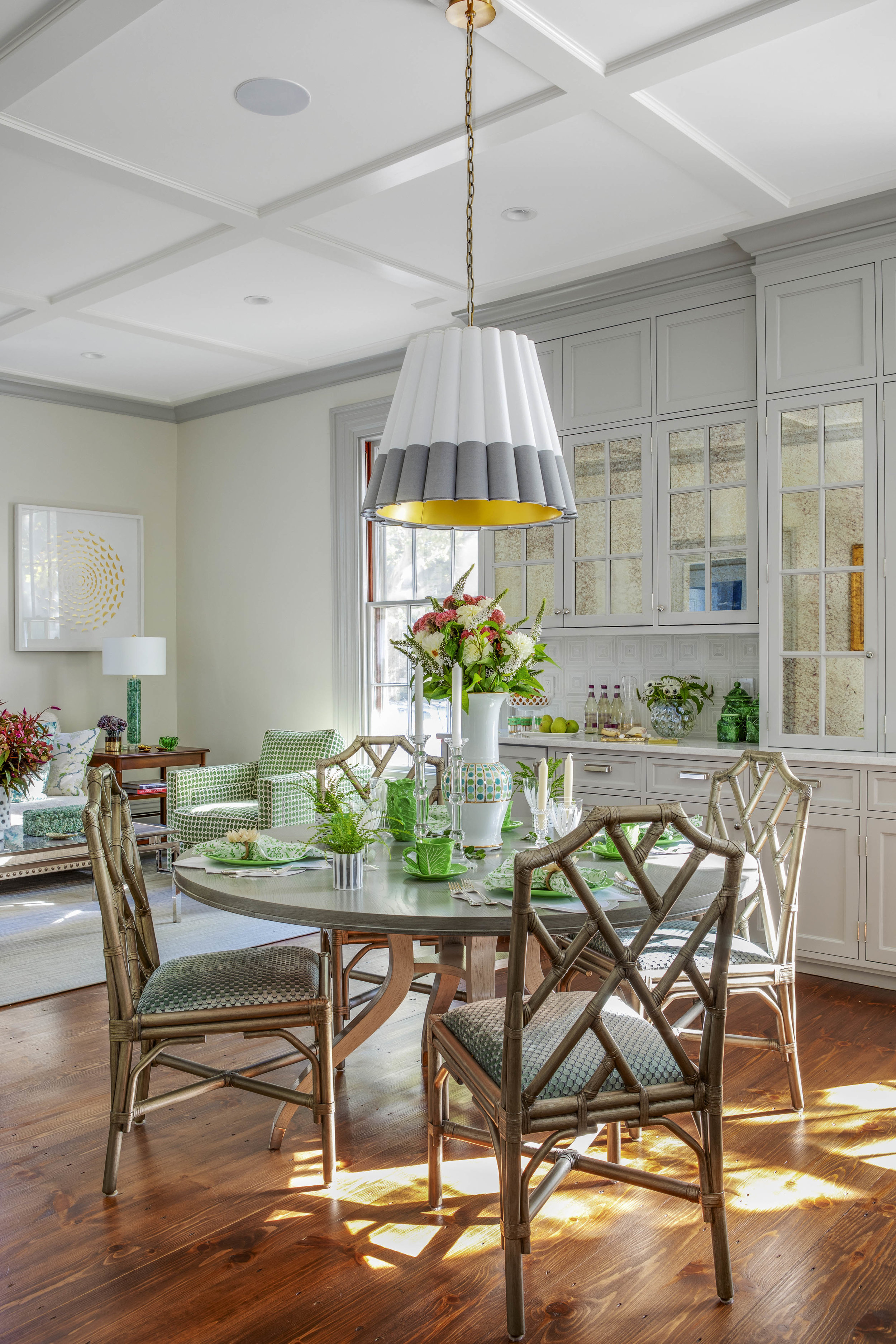 Benefit Street, Providence, Rhode Island, living room, interior design, dining table, round table, bamboo chairs, gray trim, jocelyn chiappone, digs design, digs interior design, digs design company