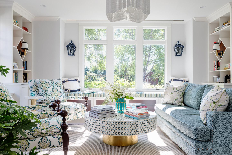 Matunuck, Rhode Island, Beach house, beach living, blues, living room, family room, round coffee table