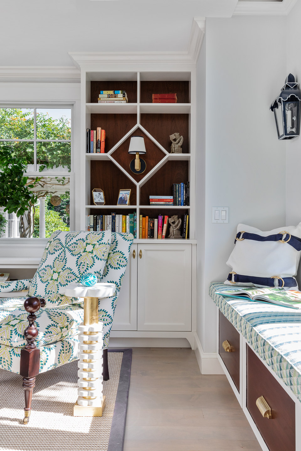 book case, living room, family room, bookcase, bookcase design ideas, window bench, window seating, bench seating, window bench storage, storage ideas
