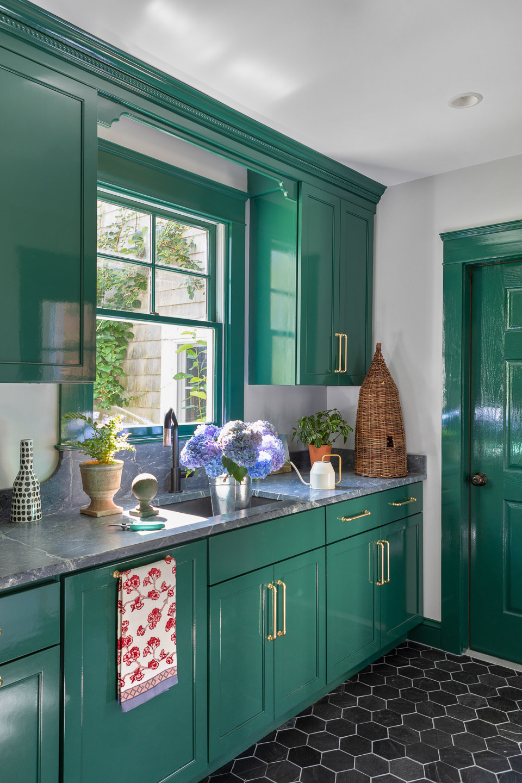 mudroom, planting room, flower room, garden room, mudroom sink, green cabinets, black tile floor, soapstone counter