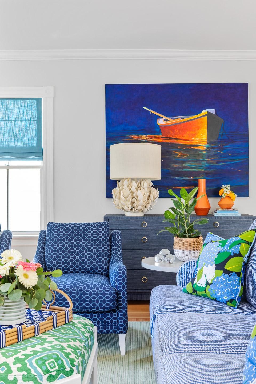 Newport, Rhode Island, Beach House, beach house decor, interior design, interior designer, living room, art ideas, boat painting