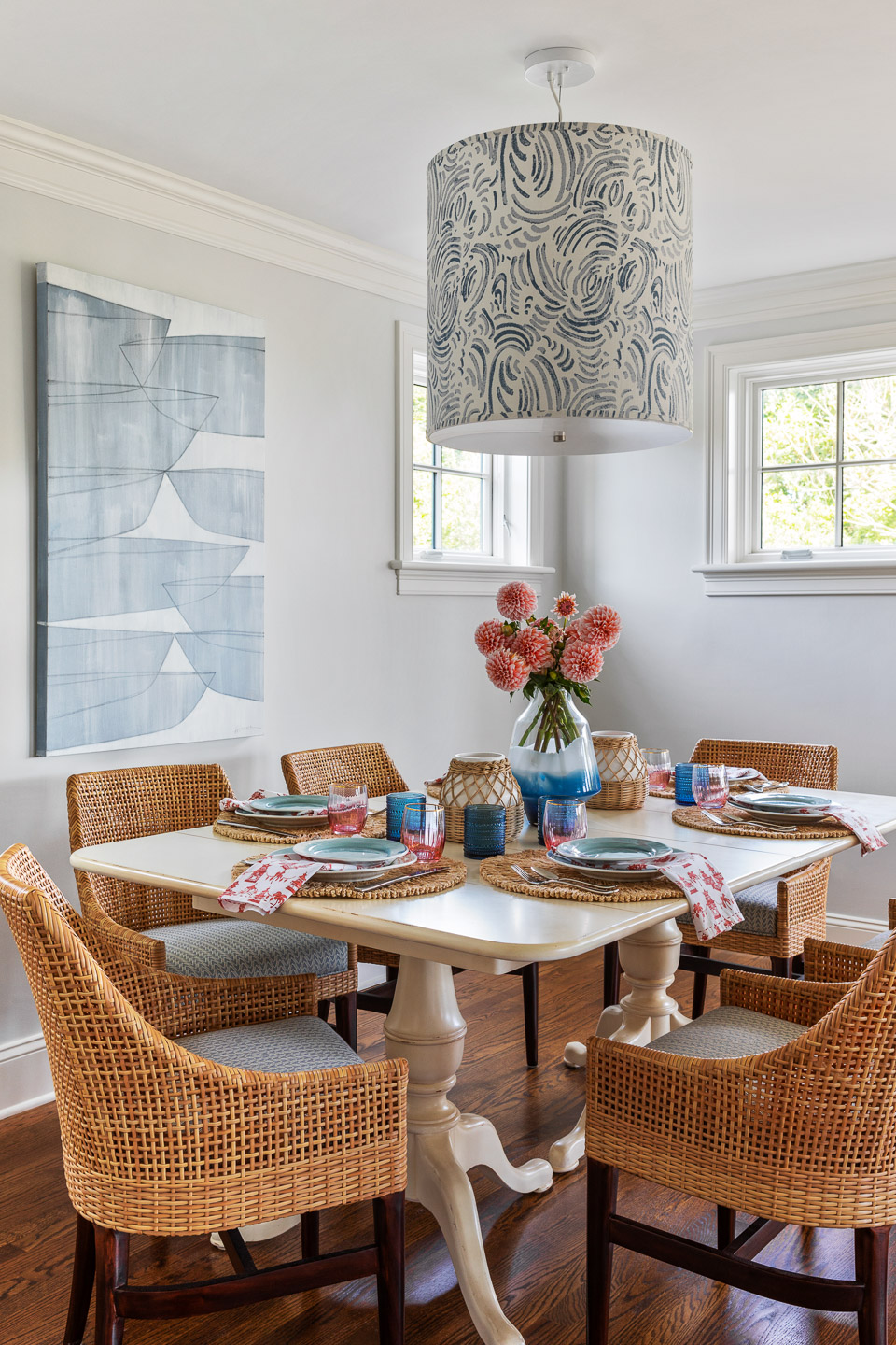 Rhode Island, interior design, interior designer, kitchen design ideas, kitchen table, rattan chairs