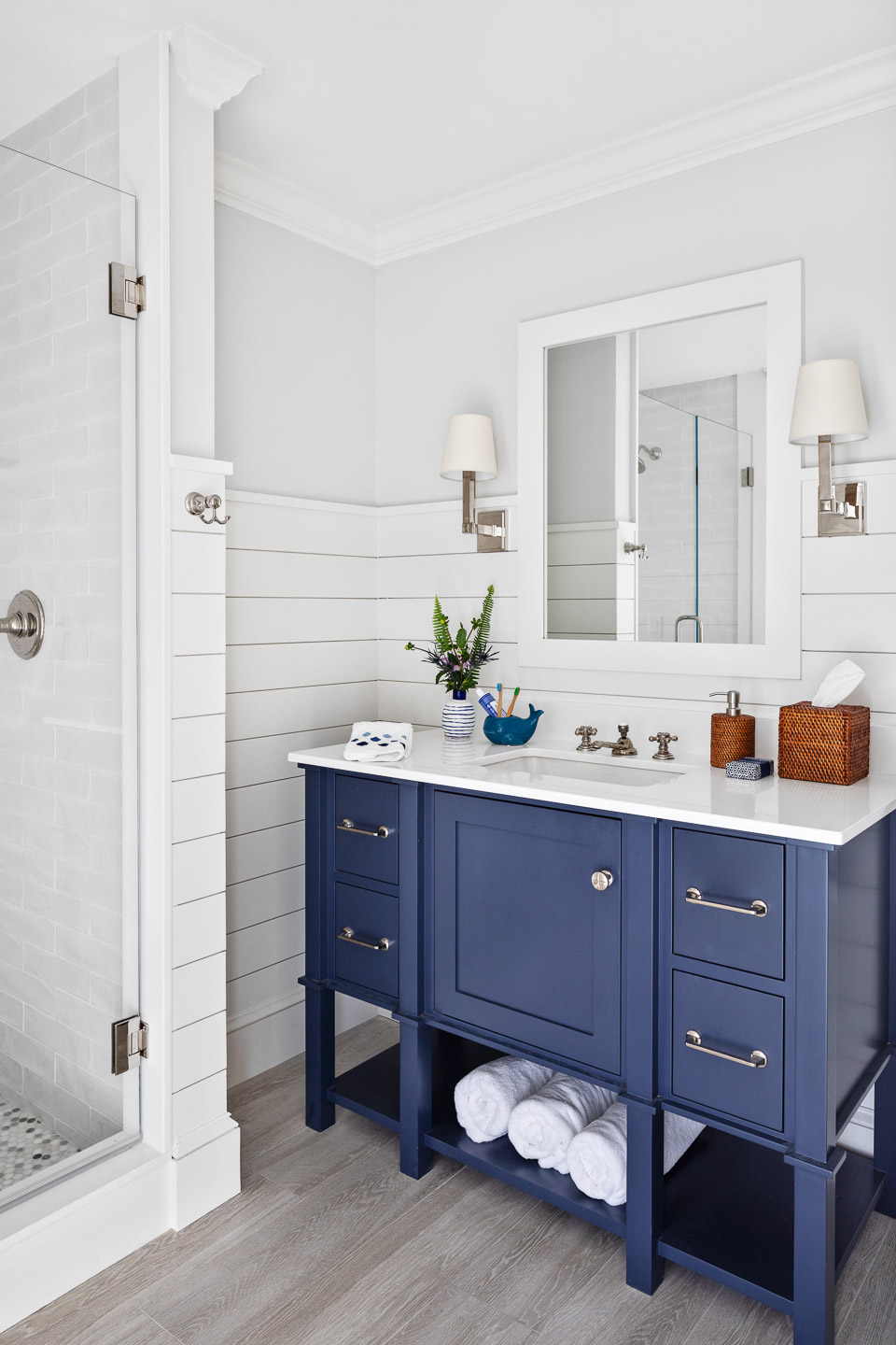 Rhode Island, interior design, interior designer, bathroom design ideas, shiplap, blue vanity