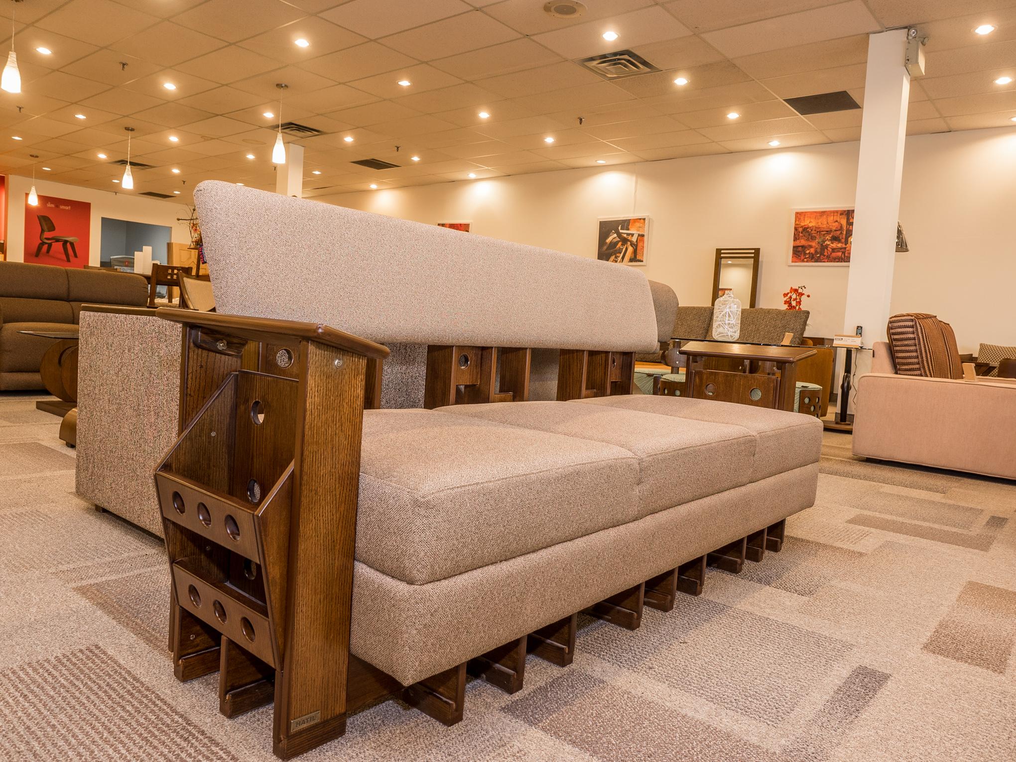 Model: 127-2-1-77. Sofa with magazine holder. 3+2+1 setup.