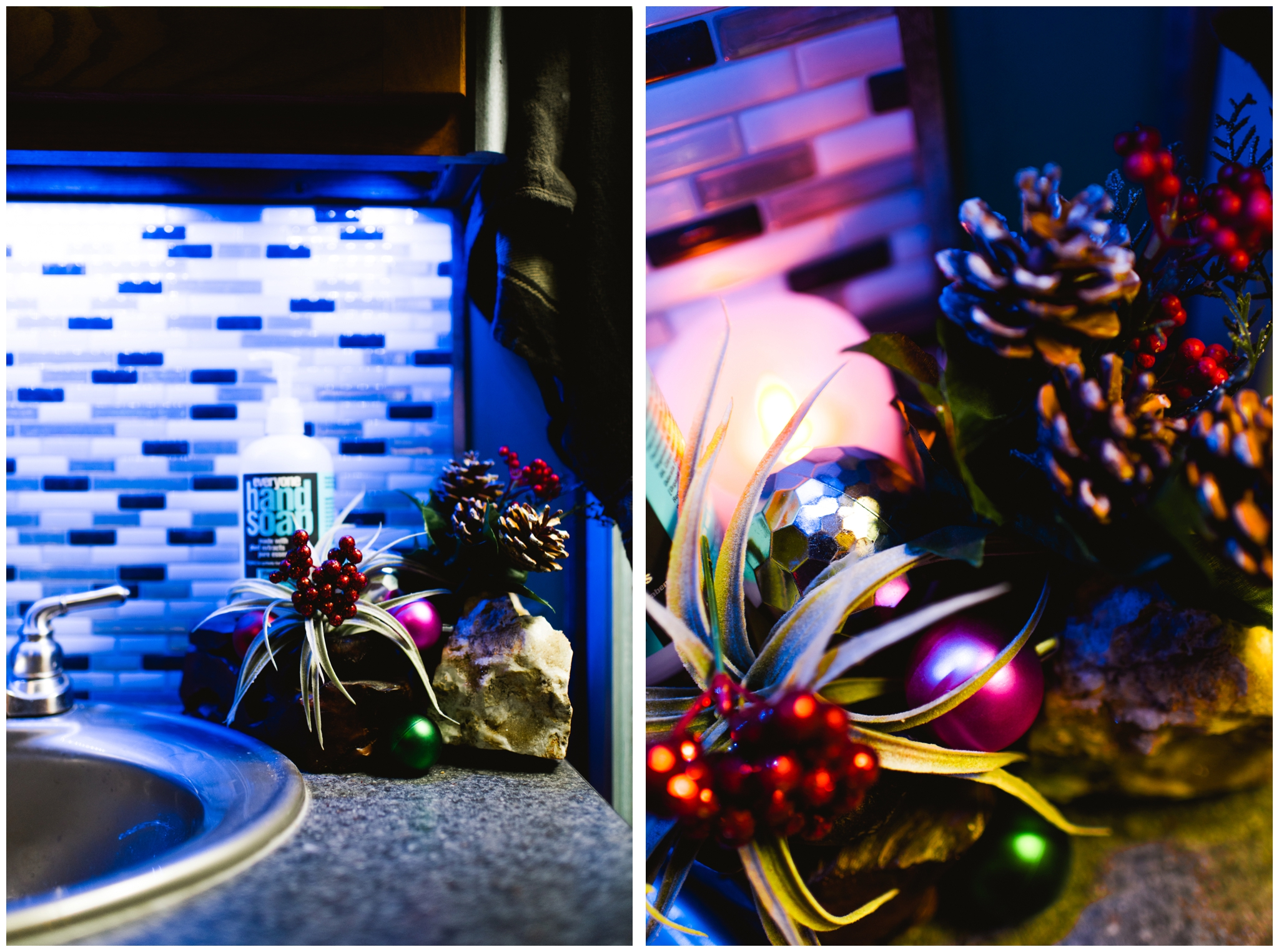 Kermit installed blue LED's permanently in our bathroom/bedroom and kitchen.