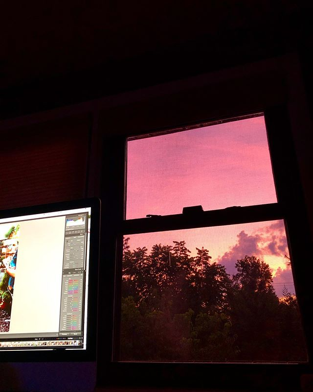 This evenings view from the upstairs office loft as I was working at our home (without wheels) had me feeling so inspired by nature even though I was stuck inside. - Trinity @trinitywalkerkeefer . . #iphone #sunset #hustle #photographer #trinitywalkerkeefer #homesweethome #peahouse #lightroom #summer #summernights