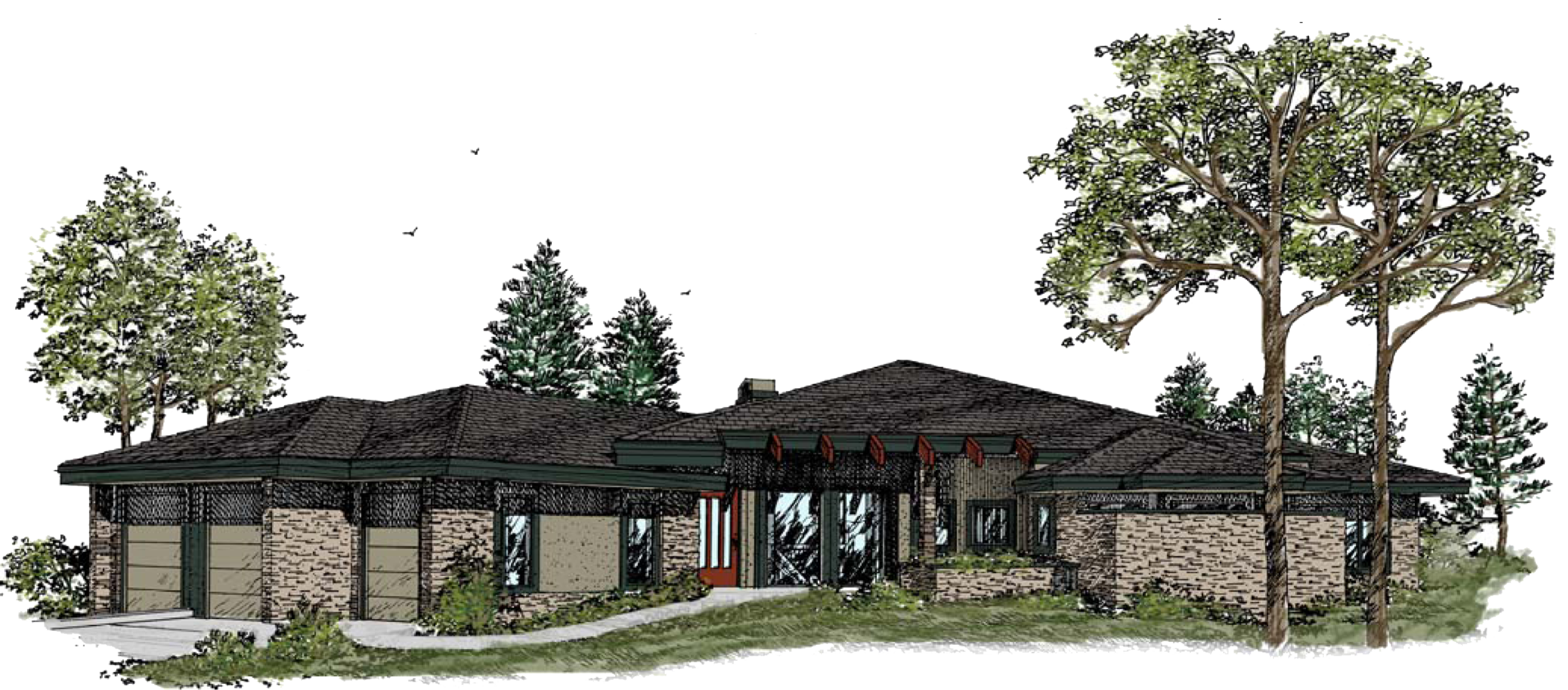 Prairie style features:   - Strong horizontal emphasis, goal of integrating the home with nature in an organic manner    - Prominent central chimney    - Clerestory windows for natural light, and casement windows arranged in bands    - Stylized, built-in cabinetry    - Leaded or nature themed stained glass windows    - Open floor plans with airy flow    - Widespread use of natural stone and local wood    - Ranch style is common, as are two-story homes with single story wings