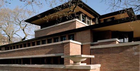 Frank Lloyd Wright's Robie House, built in 1909 in Chicago, is considered a masterpiece of Prairie School architecture. Photo:  https://flwright.org/visit/robiehouse