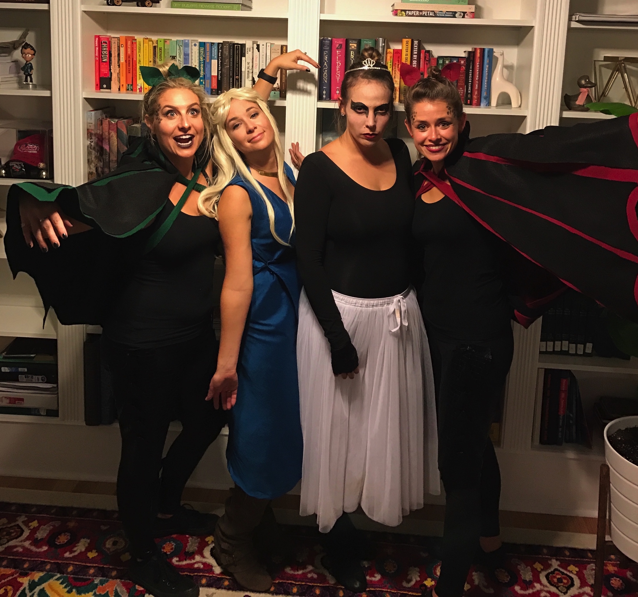 This weekend's Halloween Costumes. Daenerys and her dragons with a black swan.