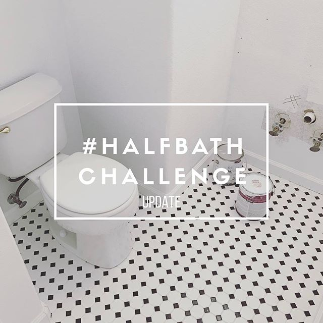 I've got a #halfbathchallenge update for you! We've got a week left in the challenge and things are coming down to the WIRE. We may or may not have lights by next Tuesday. @buildingbluebird Seems to have ran into all of her obstacles early on and is cruising! Link in profile! . . . #makersgonnamake #diyblogger #diyhome #homerenovation #homeremodeling #blogger #abmathome