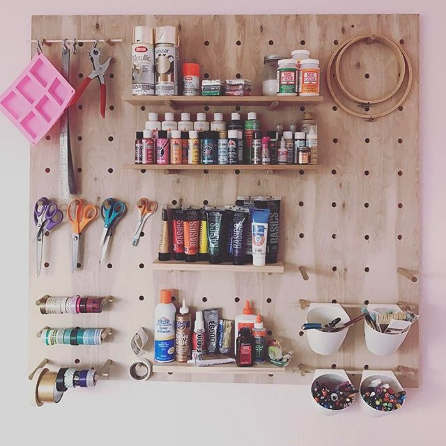 I made a peg board! And I'm unproportionately proud of it considering the hour it took to make. . . . #makersmovement #makersgonnamake #diylife #diyblogger #craftroom #crafting #craftroommakeover #craftroomorganization