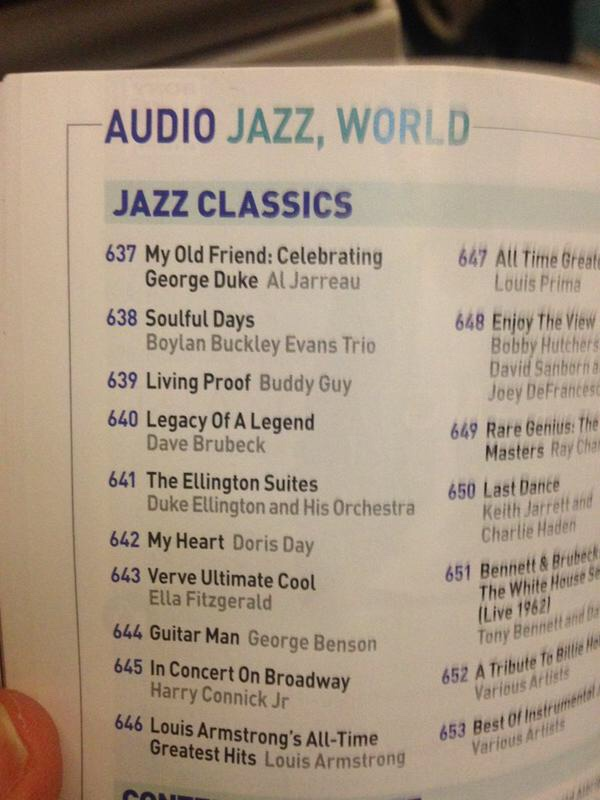 """BBE Trio  spotted in the """"Jazz Classics"""" section on  Singapore Airlines  by  Ben Castle.  In good company!"""