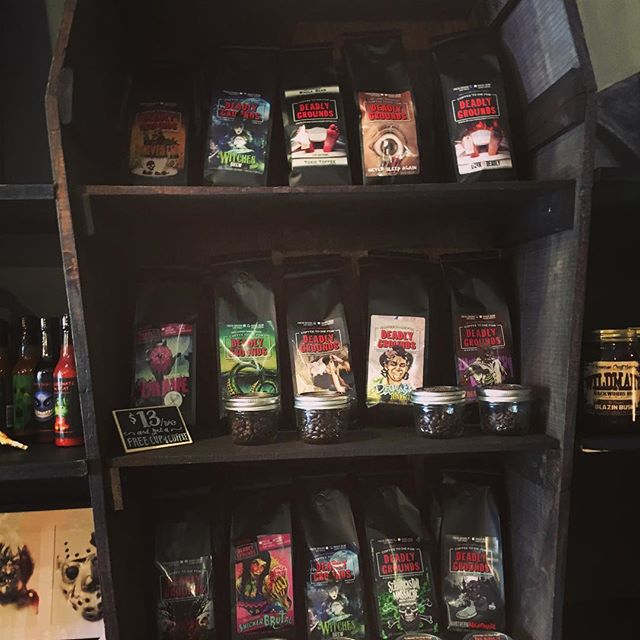 Had a great time at @deadlygroundscanada perusing the coffee and treats- as well as the incredible horror displays. This is a must see location for anyone traveling through Ontario. . . . . . . #metal #deadlygroundscoffee #horror #cafe #coffee #canada #canadian #merch #delicious #caffeine #java @old_haunt_recording_studio @rockshotsrecords