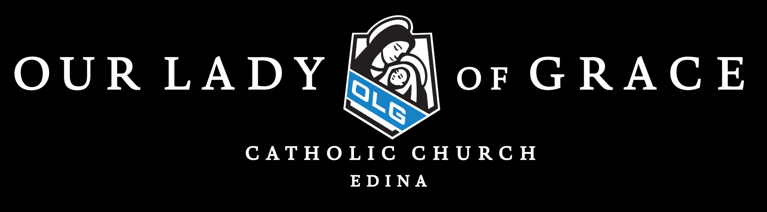 Example: OLG Parish Logo WHITE Text (Catholic Church Edina).png