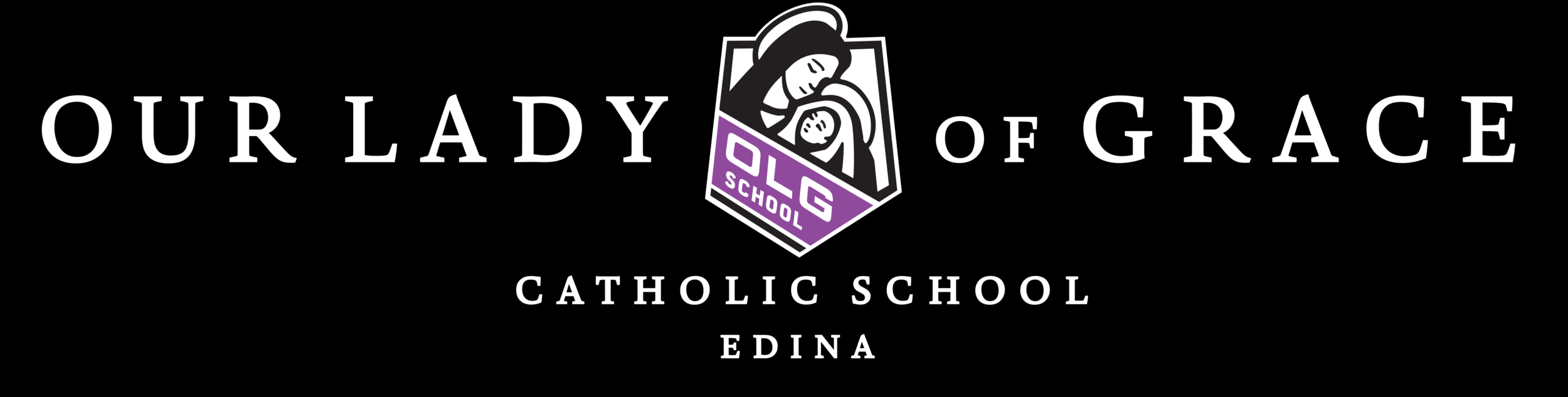 Example: OLG School Logo WHITE Text (Catholic School Edina).png