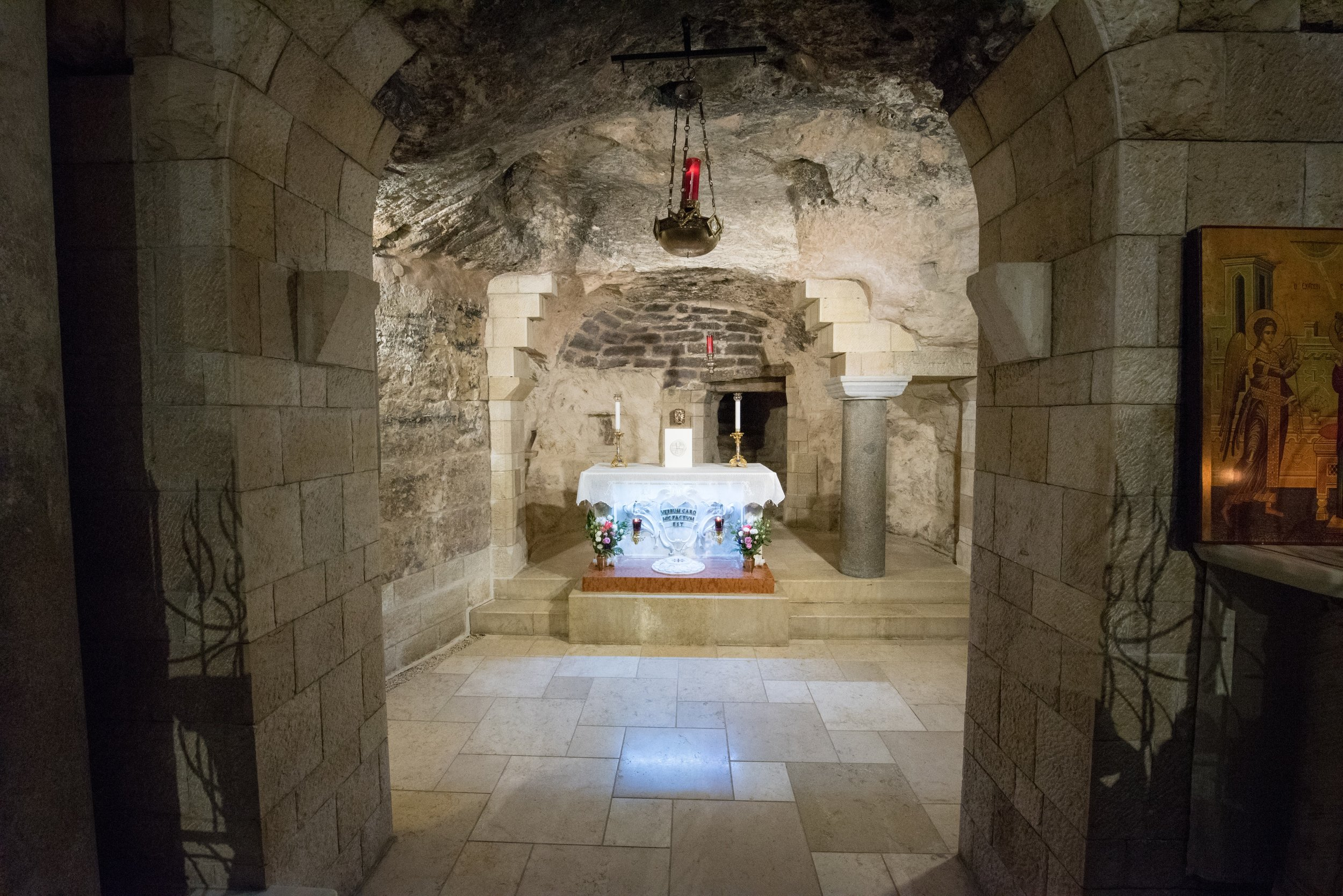The cave where the Angel Gabriel visited the Virgin Mary and the Word became flesh.