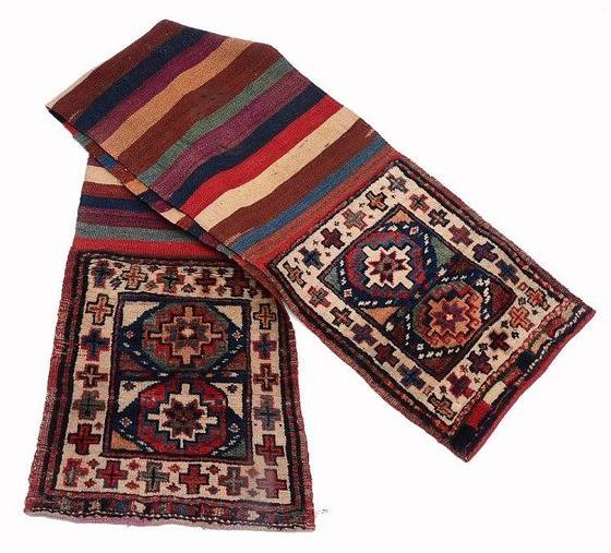 Antique handwoven Persian saddlebag