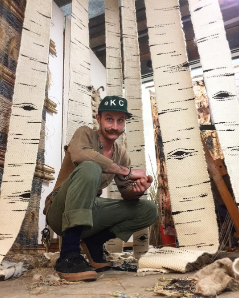Neil Goss and his Birch Forest pieces, woven for the set of Peter and the Wolf at the Lawrence, KS Art Center