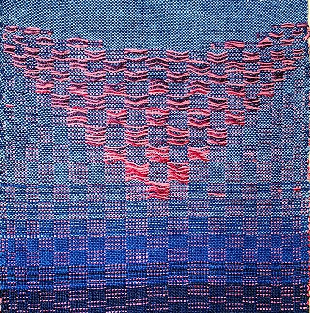 """💙Beautiful submission by @hesuart:  Experimented with overshot weaving this summer. A lot of possibilities when working in the loom with picking technique as in tapestry weaving. This peace I called """"bikini and bluejeans"""", the best clothes for summer. 💙  #weaving #weaversofinstagram #twksummer2019 #doodleweave #wovendoodle #fiberart #fibreart #loomweaving"""